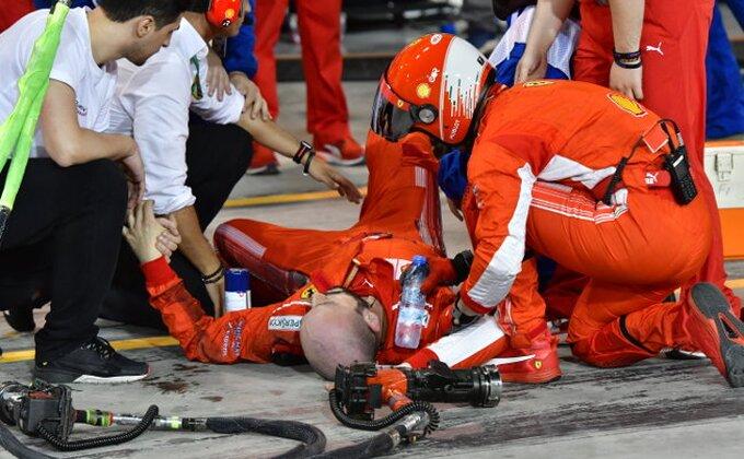 Dan posle - Evo kako izgleda noga mehaničara Ferarija nakon incidenta!